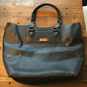 BCBG Black Leather Tote Bag